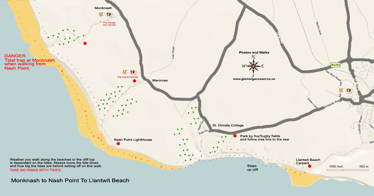 A Map of the Walk from Monknash to Llantwit Beach.