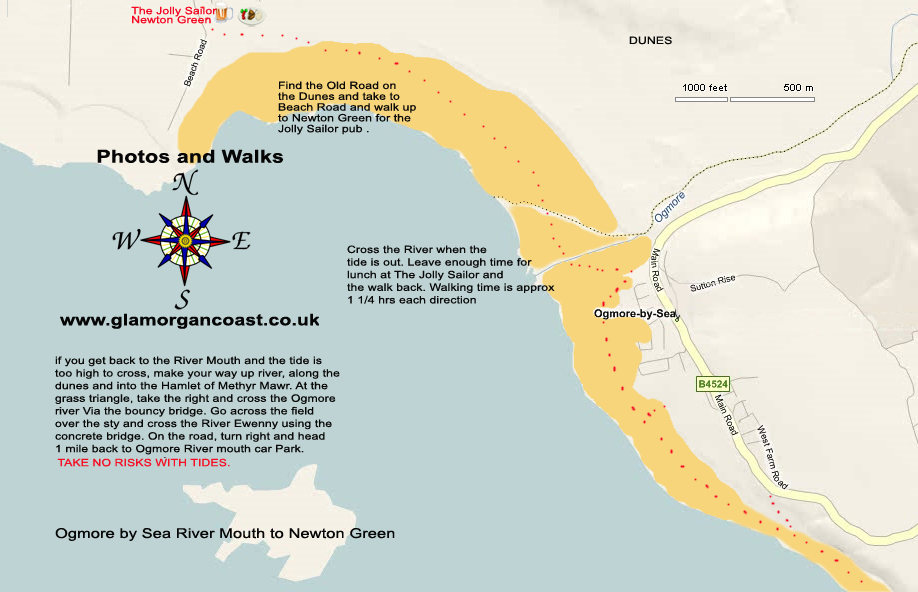 A Map of the Walk from Ogmore by Sea River Mouth