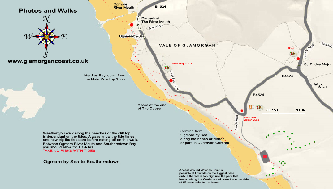 Walk and Map for Ogmore by Sea to Southerndown Bay, Dunraven Bay. Glamorgan Coast Wales UK