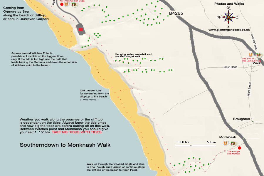Walk and Map for Southerndown Bay, Dunraven Bay to Monknash Beach Glamorgancoast, Wales UK